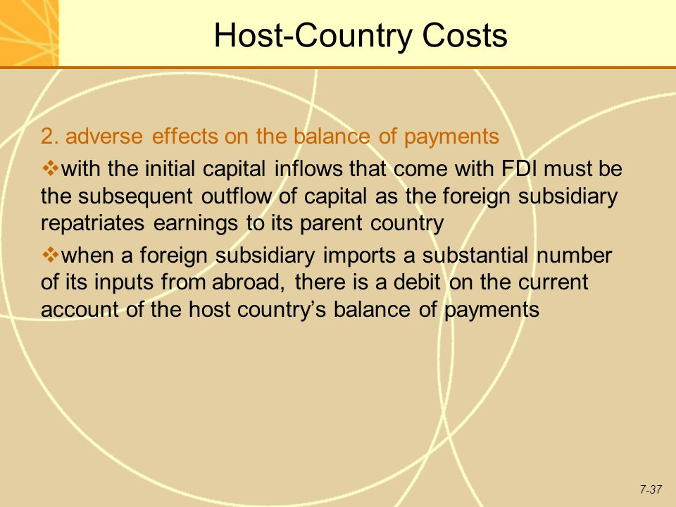 Host-Country Costs 2. adverse effects on the balance of payments