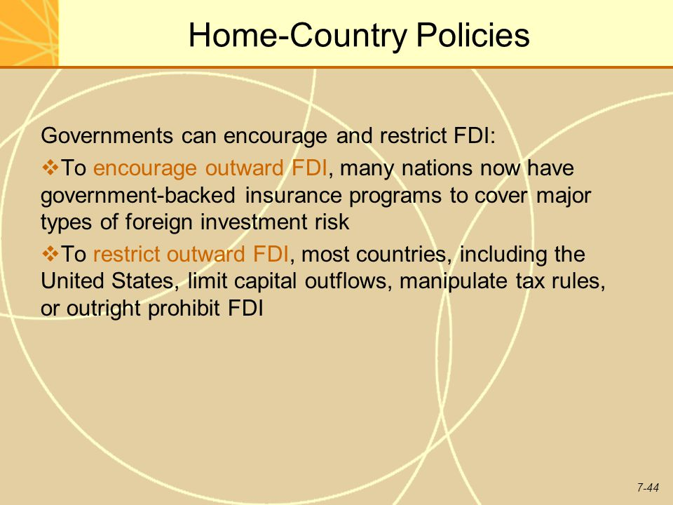 Home-Country Policies