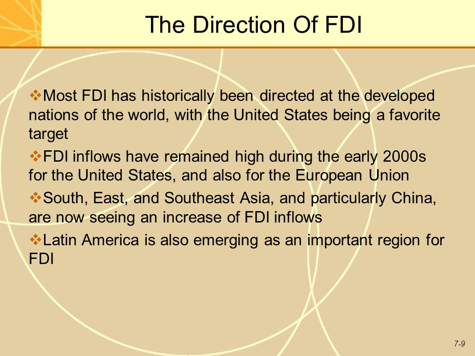 The Direction Of FDI Most FDI has historically been directed at the developed nations of the world, with the United States being a favorite target.