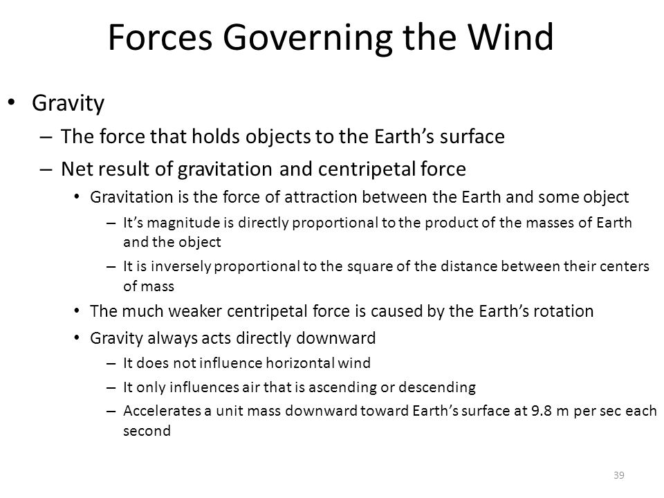 Forces Governing the Wind