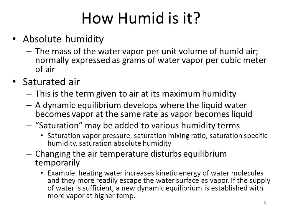 How Humid is it Absolute humidity Saturated air
