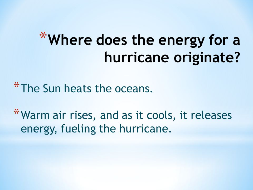 Where does the energy for a hurricane originate