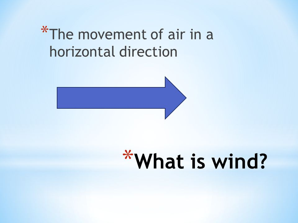 The movement of air in a horizontal direction