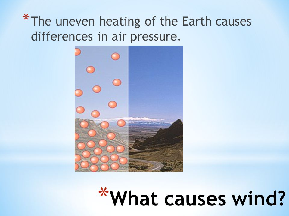 The uneven heating of the Earth causes differences in air pressure.