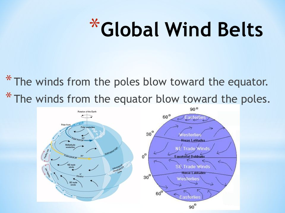 Global Wind Belts The winds from the poles blow toward the equator.