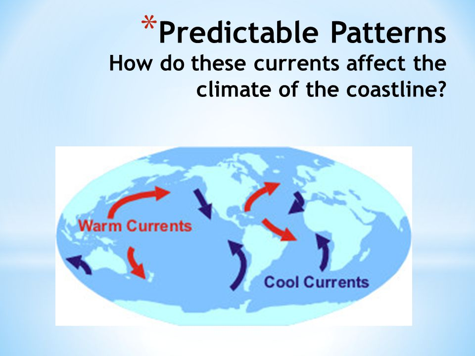 Predictable Patterns How do these currents affect the climate of the coastline