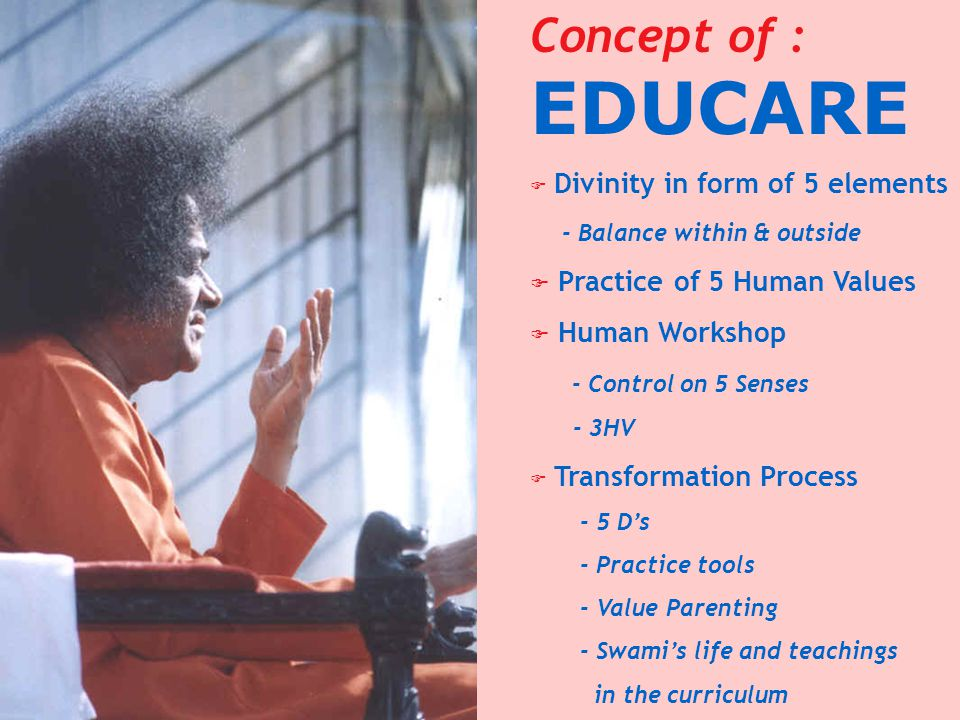 Concept of : EDUCARE Practice of 5 Human Values Human Workshop