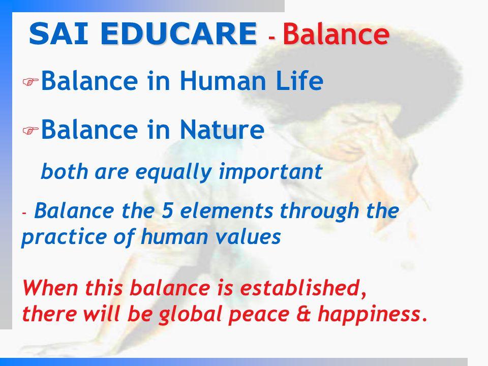SAI EDUCARE - Balance Balance in Human Life Balance in Nature