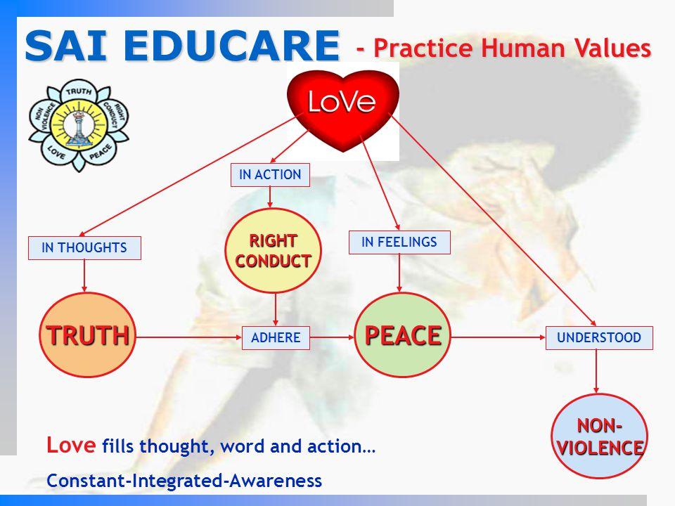 SAI EDUCARE LOVE - Practice Human Values TRUTH PEACE