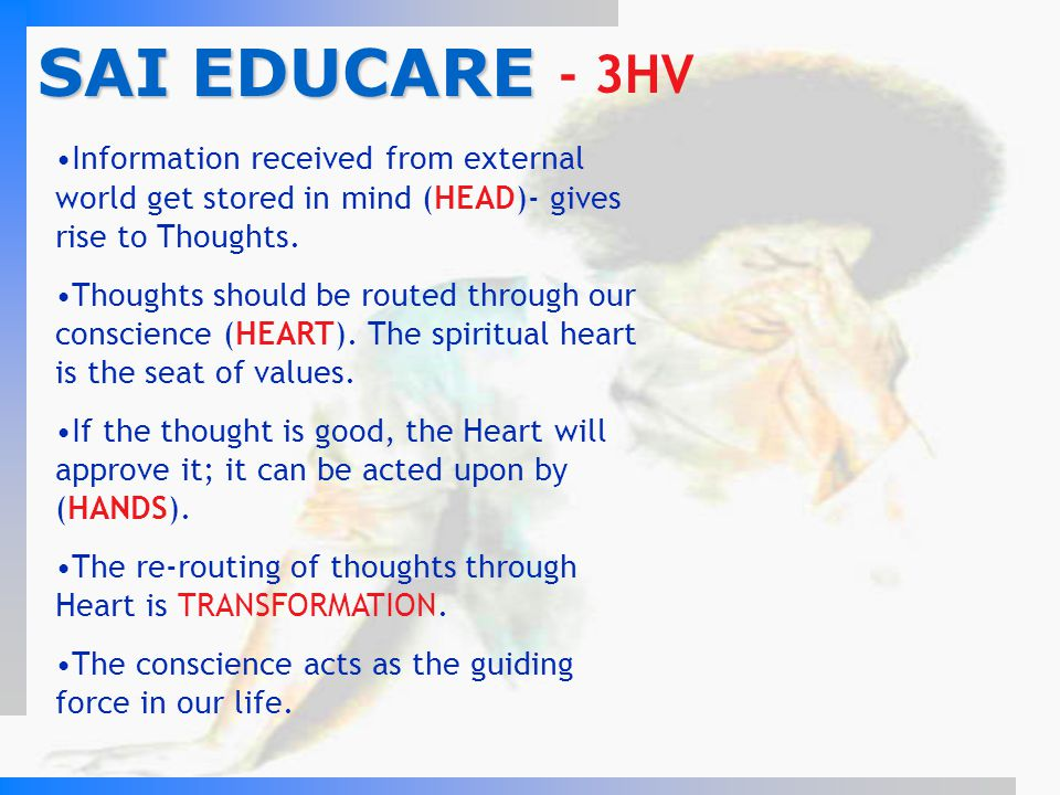 SAI EDUCARE - 3HV. Information received from external world get stored in mind (HEAD)- gives rise to Thoughts.