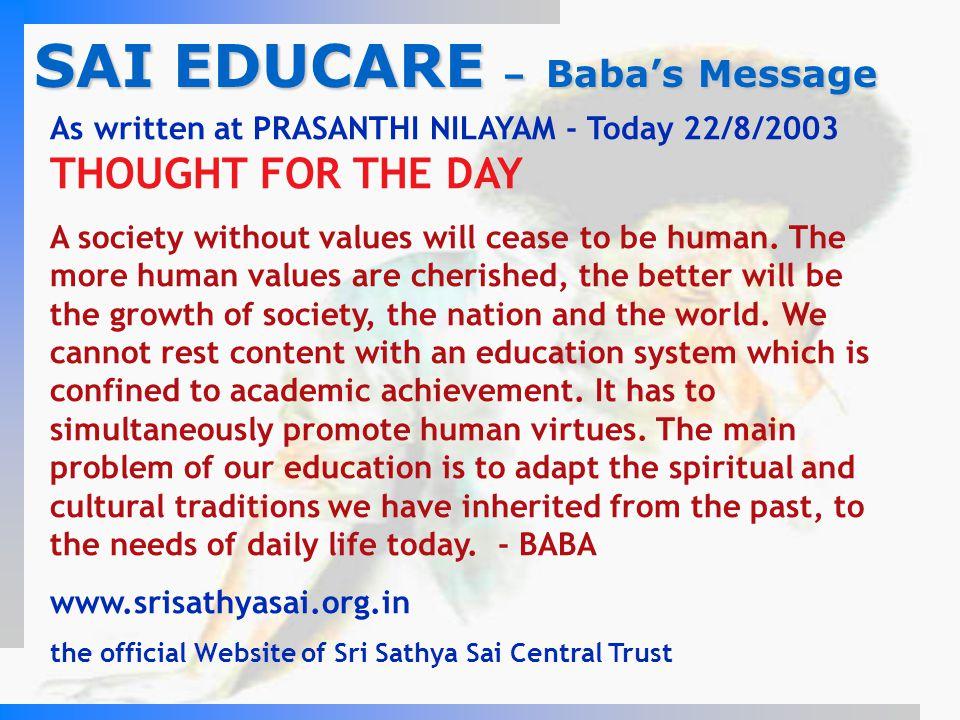 SAI EDUCARE – Baba's Message