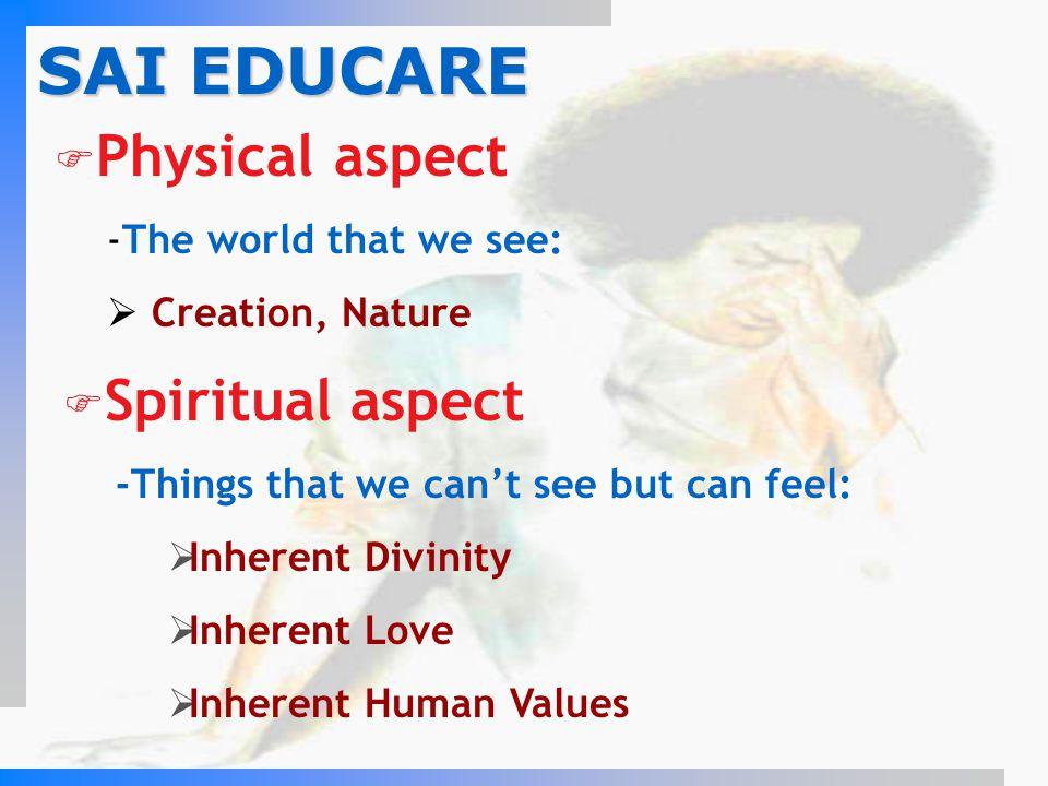 SAI EDUCARE Physical aspect Spiritual aspect The world that we see: