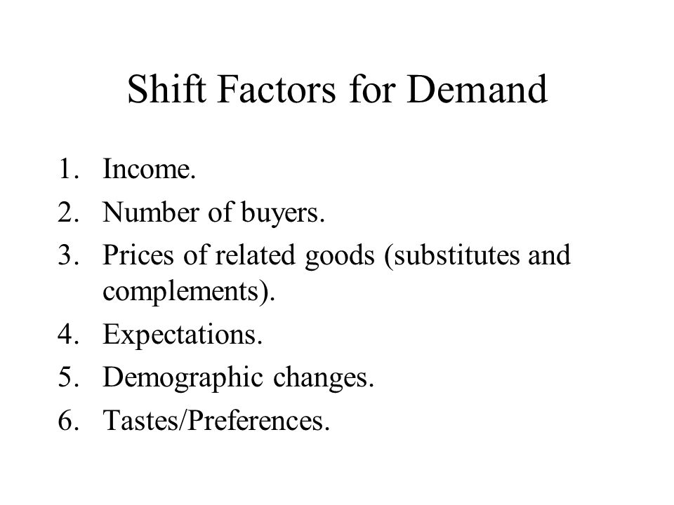 Shift Factors for Demand