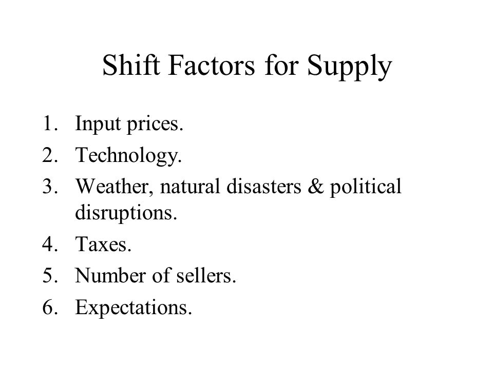 Shift Factors for Supply