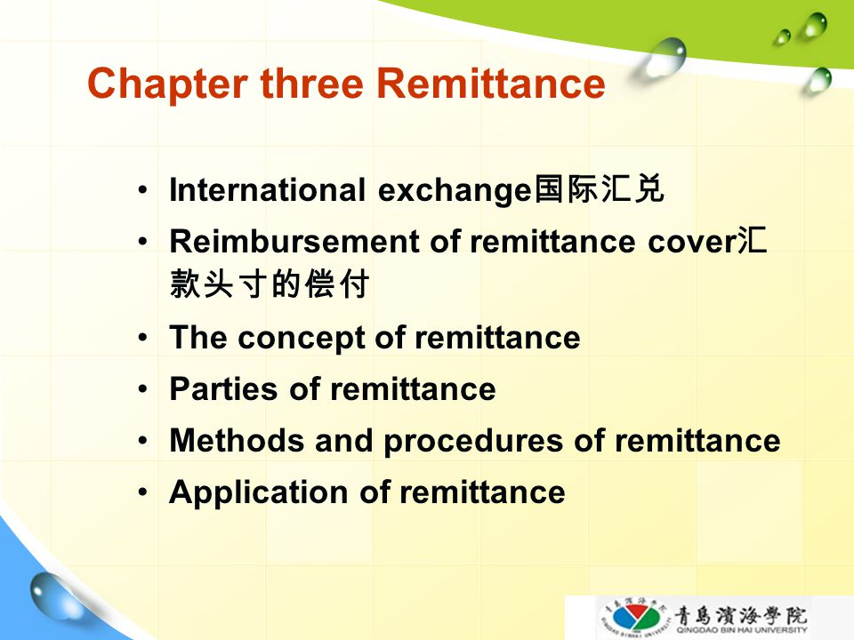 Chapter three Remittance