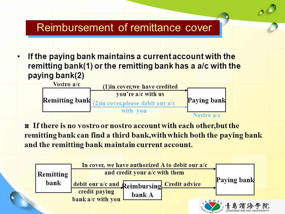 Reimbursement of remittance cover