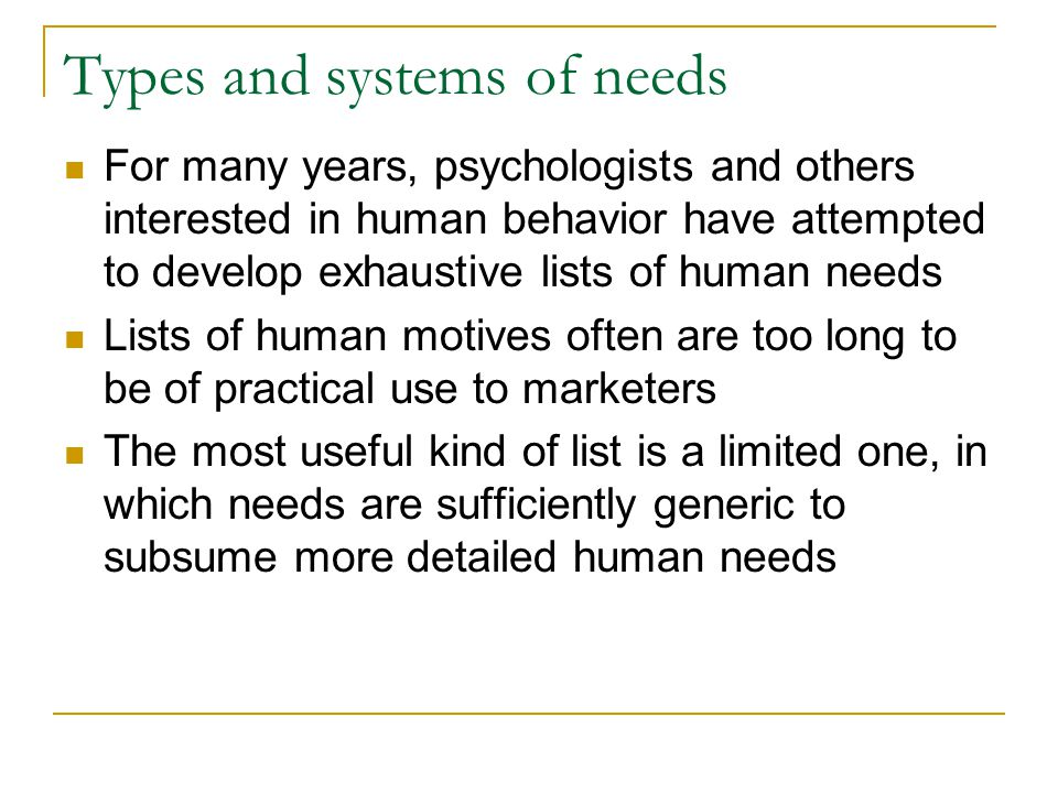 Types and systems of needs