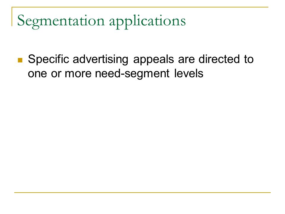 Segmentation applications