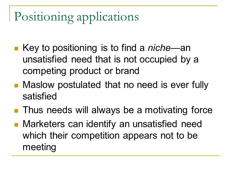 Positioning applications