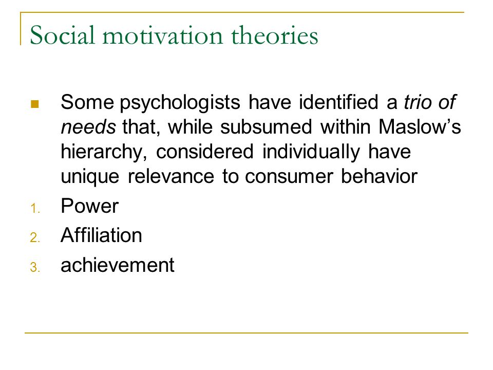 Social motivation theories