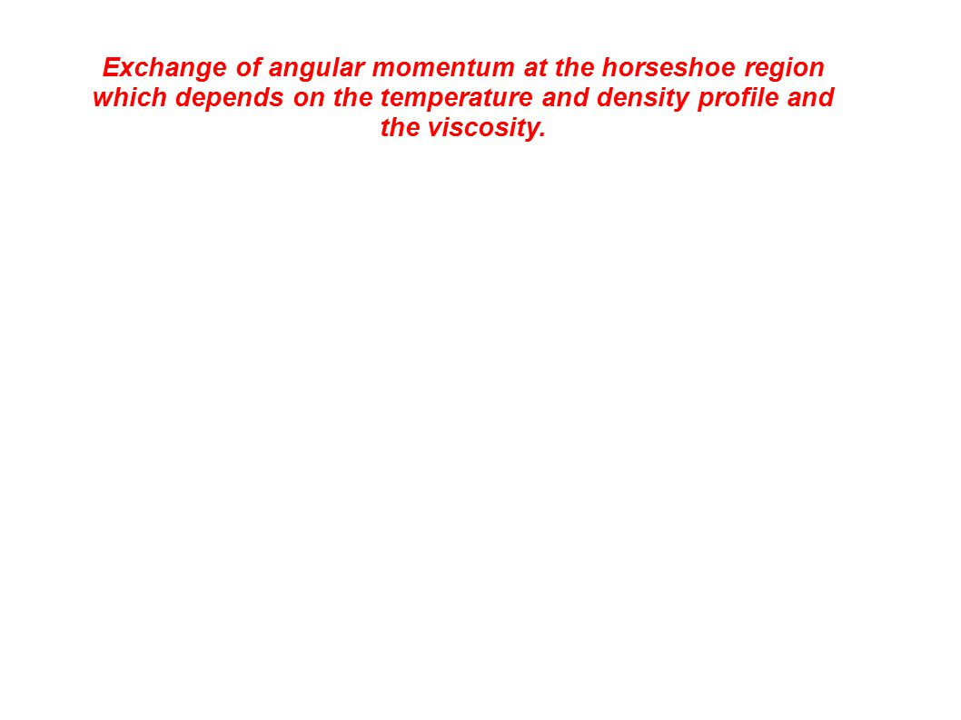 Exchange of angular momentum at the horseshoe region which depends on the temperature and density profile and the viscosity.