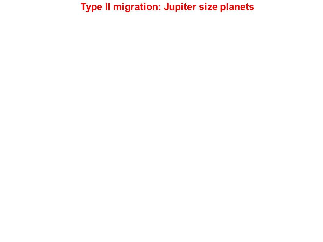 Type II migration: Jupiter size planets