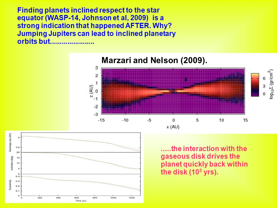 Finding planets inclined respect to the star equator (WASP-14, Johnson et al, 2009) is a strong indication that happened AFTER. Why Jumping Jupiters can lead to inclined planetary orbits but.......................