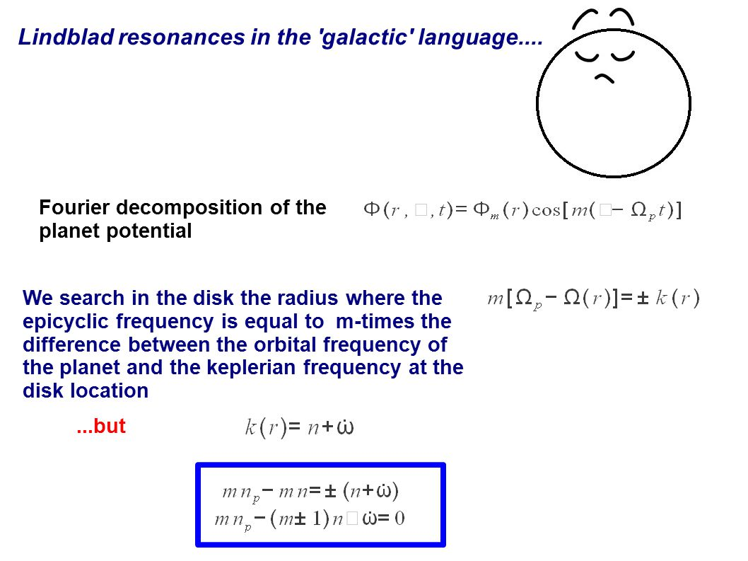 Lindblad resonances in the galactic language....