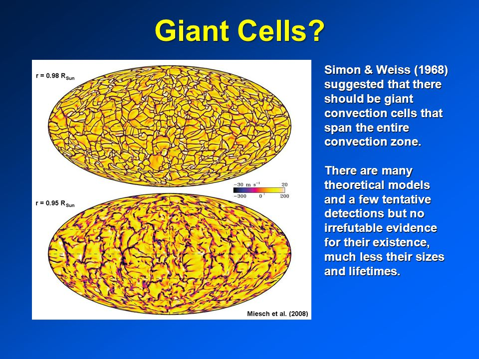 Giant Cells Simon & Weiss (1968) suggested that there should be giant convection cells that span the entire convection zone.