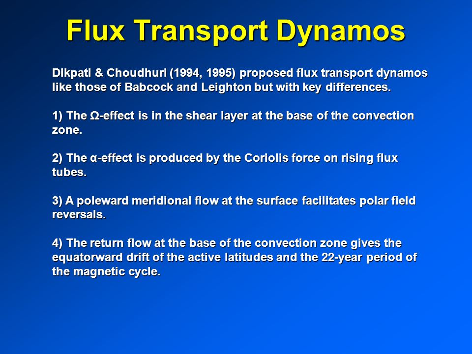 Flux Transport Dynamos