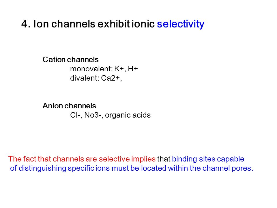 4. Ion channels exhibit ionic selectivity