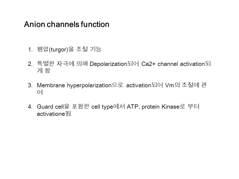 Anion channels function