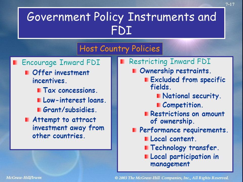 Government Policy Instruments and FDI