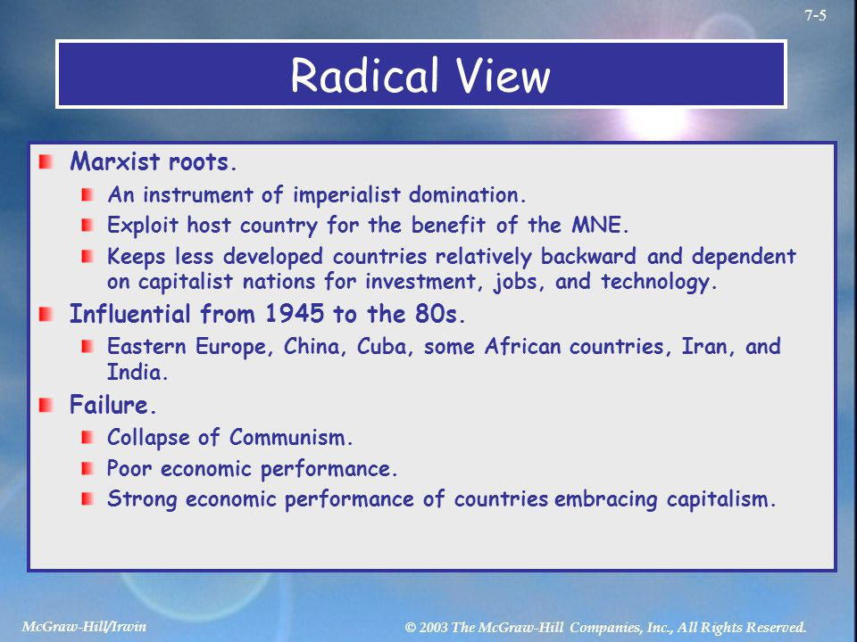 Radical View Marxist roots. Influential from 1945 to the 80s. Failure.