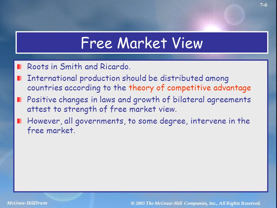 Free Market View Roots in Smith and Ricardo.