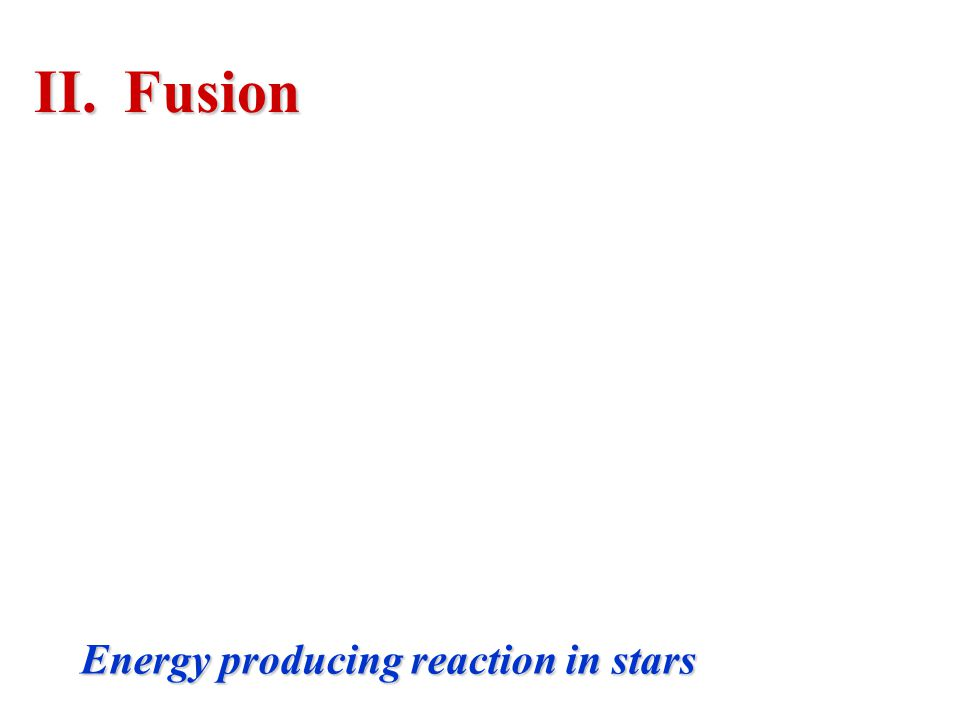 Fusion Energy producing reaction in stars