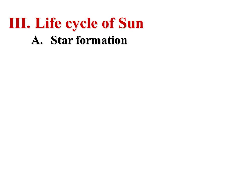 Life cycle of Sun Star formation