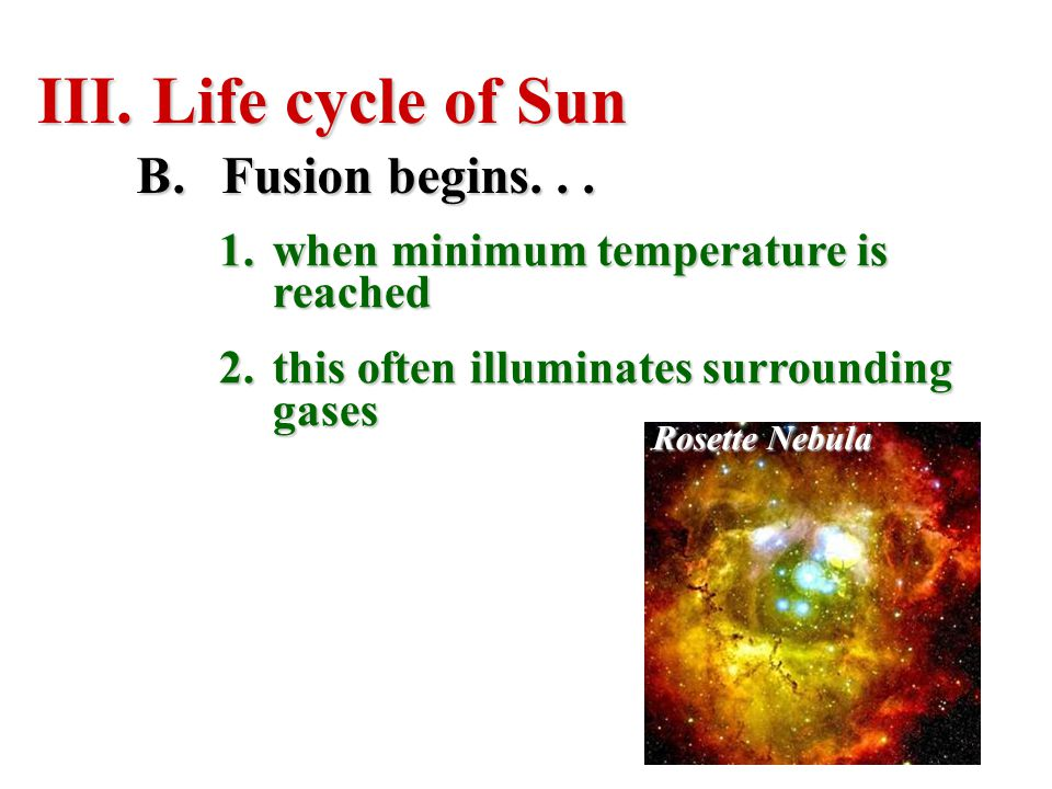 Life cycle of Sun Fusion begins. . .