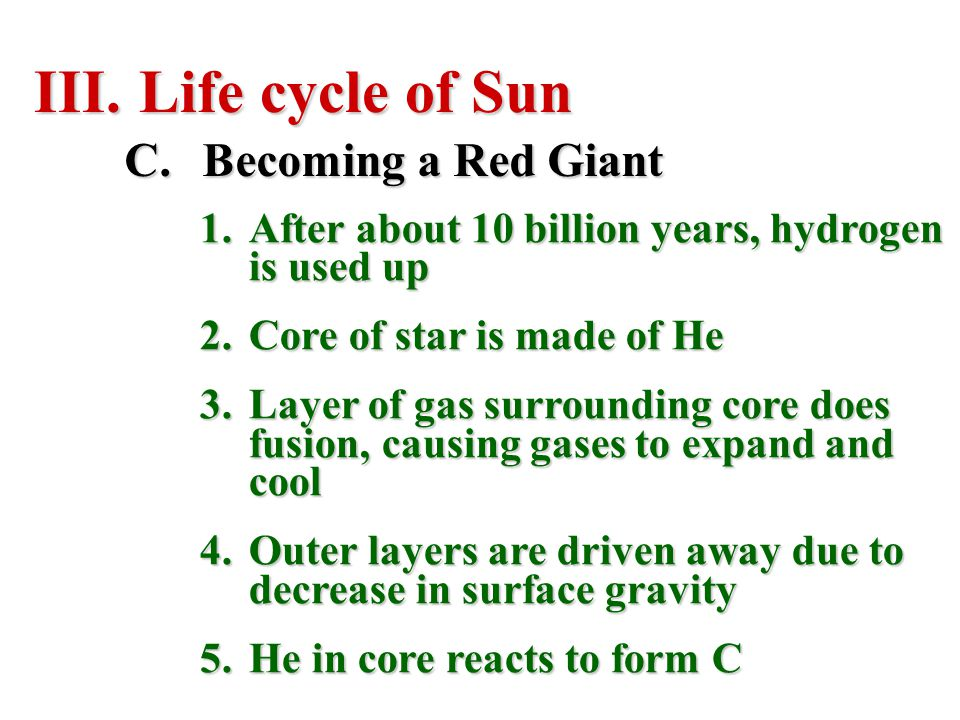 Life cycle of Sun Becoming a Red Giant