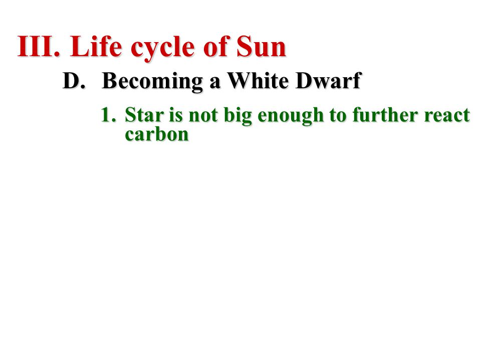 Life cycle of Sun Becoming a White Dwarf