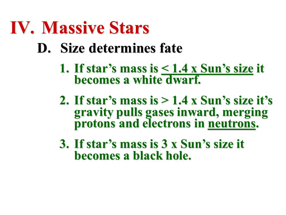 Massive Stars Size determines fate