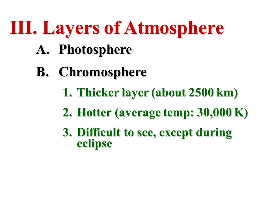 Layers of Atmosphere Photosphere Chromosphere
