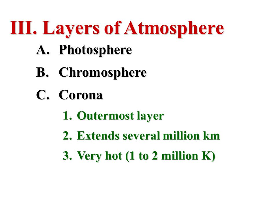 Layers of Atmosphere Photosphere Chromosphere Corona Outermost layer