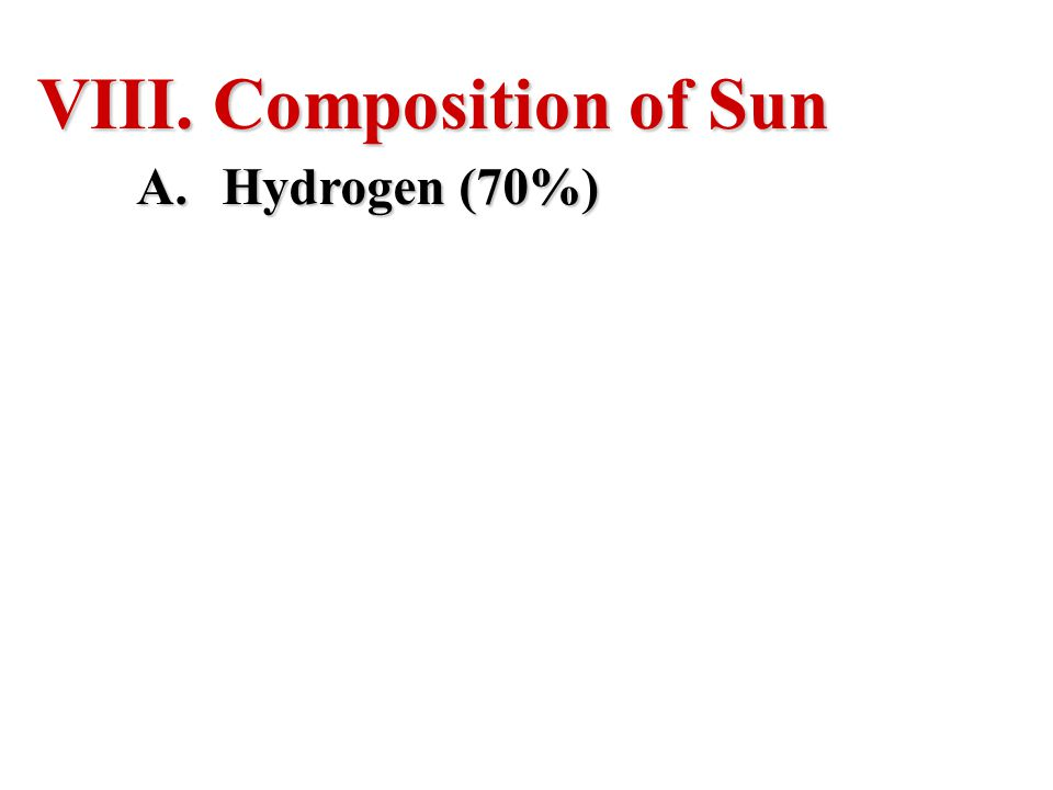 Composition of Sun Hydrogen (70%)