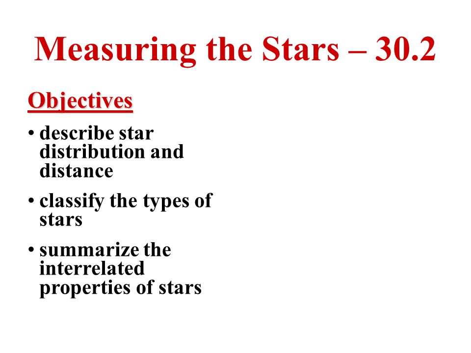 Measuring the Stars – 30.2 Objectives