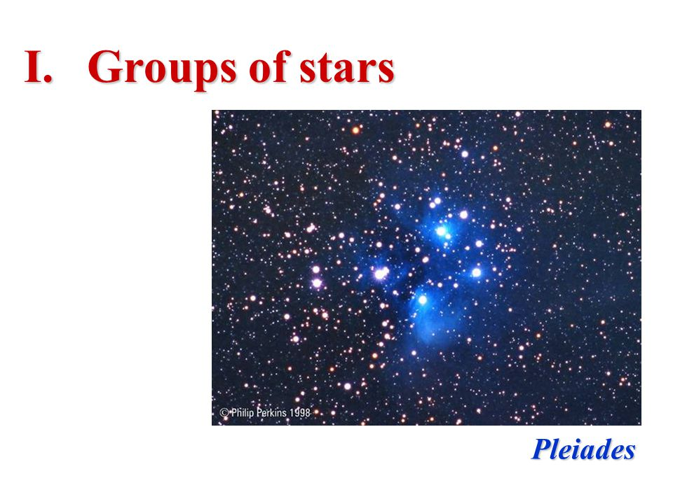 Groups of stars Pleiades