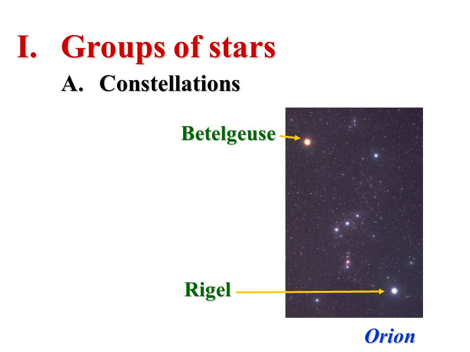Groups of stars Constellations Betelgeuse Rigel Orion