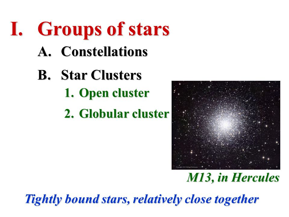 Groups of stars Constellations Star Clusters Open cluster
