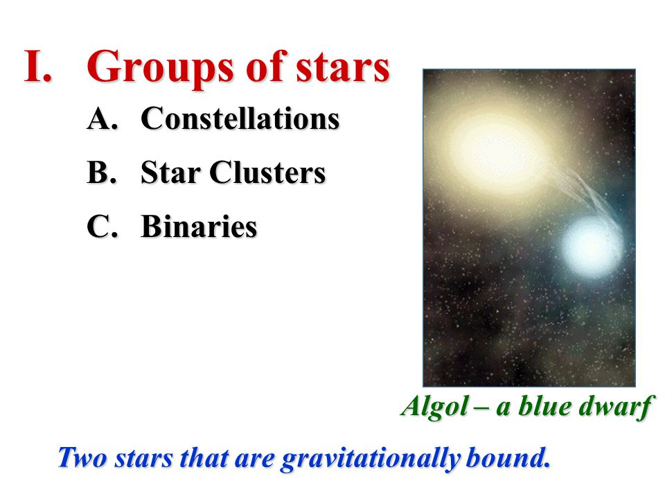 Groups of stars Constellations Star Clusters Binaries
