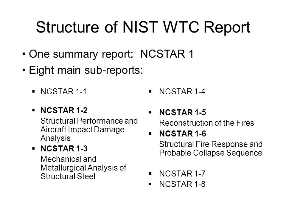 Structure of NIST WTC Report